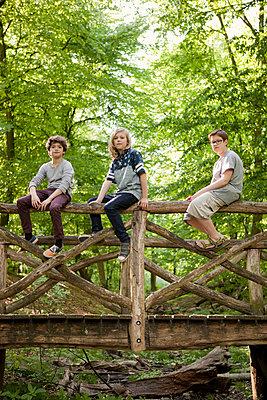 Drei Jungen sitzen auf einer Brücke im Wald   - p1195m1138119 von Kathrin Brunnhofer