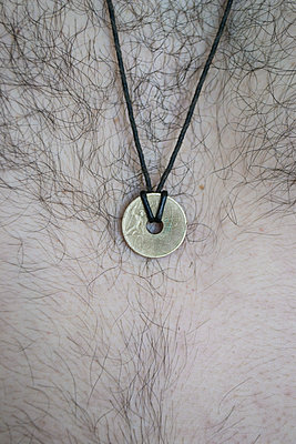 Hairy chest with coin-necklace - p1199m2100310 by Claudia Jestremski