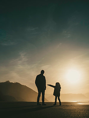 Father and Daughter at Sunset - p1522m2159147 by Almag