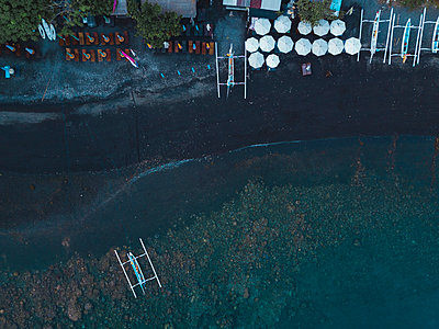 Coastline and outrigger boat, Amed, Bali, Indonesia - p1166m2202330 by Konstantin Trubavin
