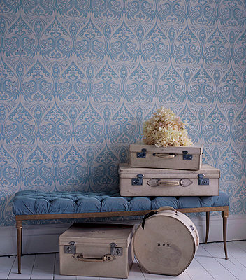 Hallway with blue patterned wallpaper upholstered vintage bench and suitcases - p349m695191 by Emma Lee