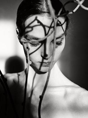 Frau mit Zweig vor dem Gesicht, Lichterspiel - p1413m2215619 von Pupa Neumann