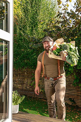 Mature man carrying crate with vegetables in his garden - p300m2059527 by realitybites