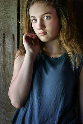Girl's Portrait in Barn  - p1019m1441874 by Stephen Carroll