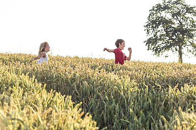 Smiling boy running in front of sister in green field during sunset - p300m2276661 by Wilfried Feder