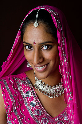 A woman dressed in traditional Indian clothing - p3017387f by Ragnar Schmuck