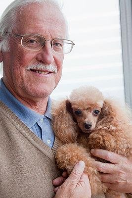 Senior man carrying pet dog at home - p924m1174858 by REB Images