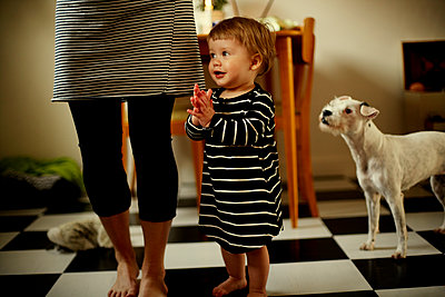 Mother with todller and dog at home - p972m1088604 by Felix Odell