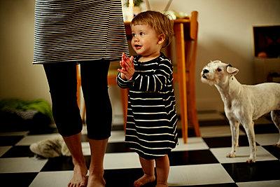 Mutter, Kind und Hund zuhause - p972m1088604 von Felix Odell