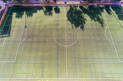 Aerial view of football field in Valencia - p1332m1539650 by Tamboly