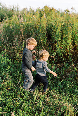 Toddler boys playing together in a field. - p1166m2151876 by Cavan Images