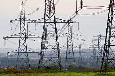 Electricity pylons, England, United Kingdom - p871m837890 by Tim Graham