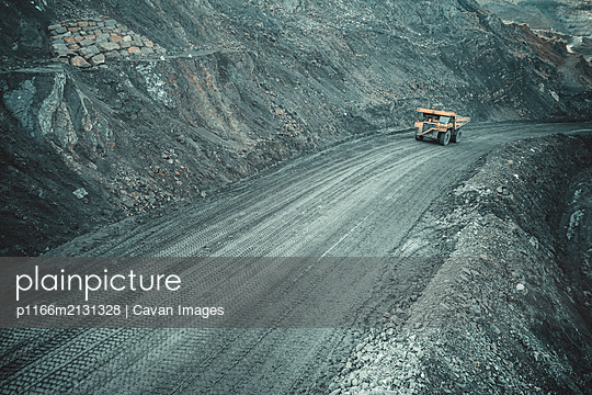 Coal Truck from Aerial View - p1166m2131328 by Cavan Images