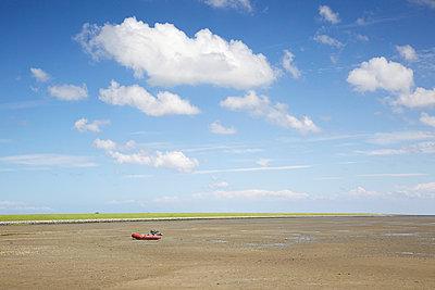 Rubber dinghy at low tide - p606m890790 by Iris Friedrich