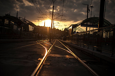 Tramway rails at sunset in Eminönü - p1007m1134885 by Tilby Vattard