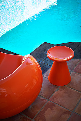 Designer stool by the pool - p851m1362481 by Lohfink