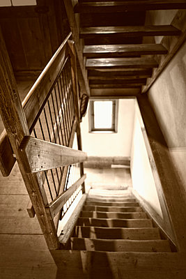Wooden cabin staircase banister spooky cottage - p609m1192623 by OSKARQ