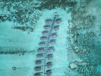 Maldives, Aerial view of water bungalows - p300m2024144 by Konstantin Trubavin