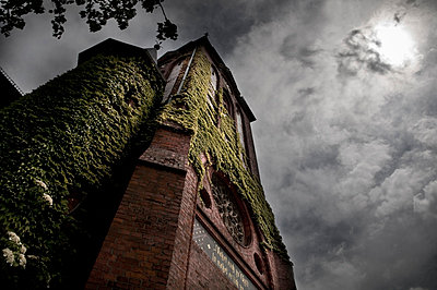 spooky church in the moonlight - p416m784657 by Thomas Schaefer