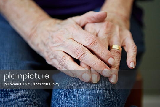 Close up of 82 year old senior woman's hands - p924m930178f by Kathleen Finlay