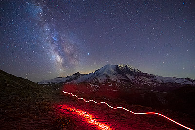 Stunning Milky Way Over Mt. Rainier and a Flashlight Track - p1166m2129856 by Cavan Images