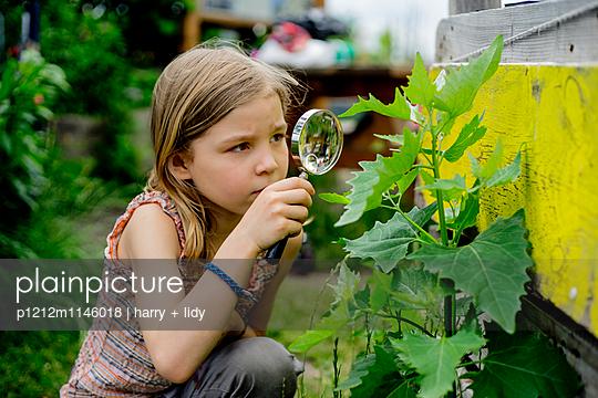 Mädchen mit Lupe im Garten - p1212m1146018 von harry + lidy