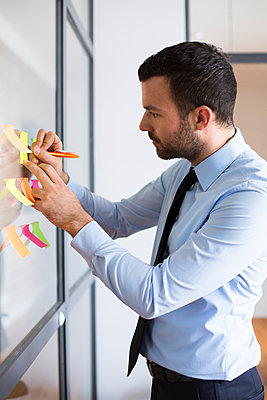Businessman in office writing on adhesive note on glass wall - p300m2012514 by Florian Küttler
