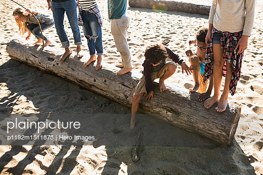 Boy and girl friends on log on sunny beach - p1192m1511878 by Hero Images