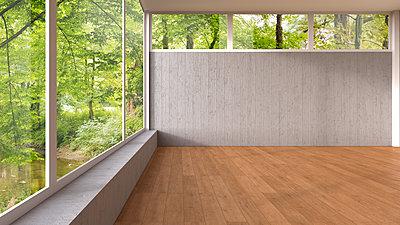 Empty room with panorama window and wooden floor, 3D Rendering - p300m1166678 by HuberStarke
