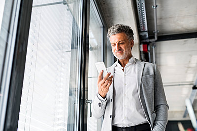 Smiling mature businessman standing at the window in office holding cell phone - p300m1536297 by HalfPoint