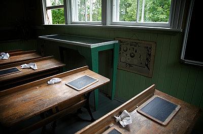 Blackboards In An Antique Classroom, Drummondville, Quebec - p442m936031 by Patrick La Roque