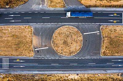 Aerial of Highway in central anatolia - p1332m2286059 by Tamboly