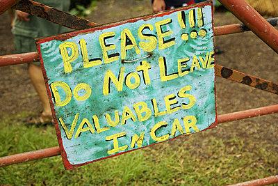 Hawaii, Maui, Hana, Signage at Twin Falls. - p442m860349 by Ron Dahlquist photography