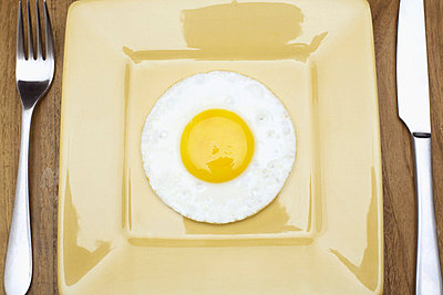 Fried egg on plate (directly above) - p5141436f by Clover photography