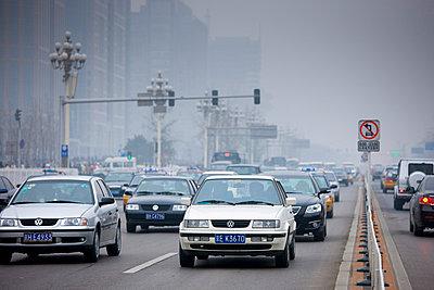 Traffic on Beijing main street - p871m873355 by Tim Graham