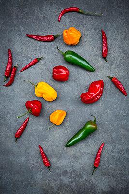 Various chili pods on grey background - p300m1505313 by Larissa Veronesi