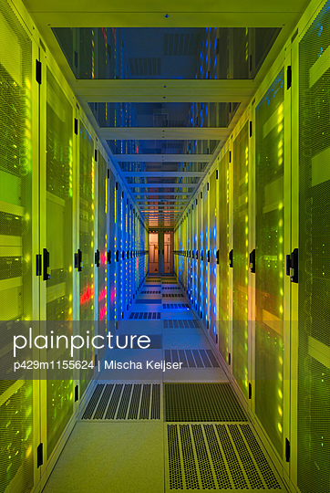 Datacenter for storing large amounts of data, and is an important hub for the internet - p429m1155624 by Mischa Keijser