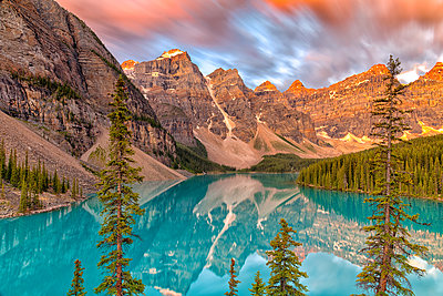 Lake Moraine at sunrise, long exposure, Banff National Park, UNESCO World Heritage Site, Alberta, Canadian Rockies, Canada, North America - p871m2209512 by Spencer Clark