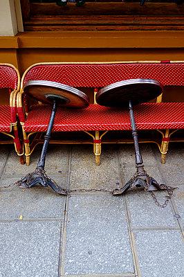 Closed sidewalk cafe in Paris - p1096m1445891 by Rajkumar Singh