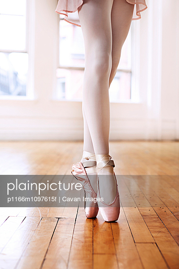 Young ballet dancer standing on tiptoes