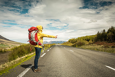 Beautiful Backpacker Tourist in Iceland - p1166m2201014 by Cavan Images