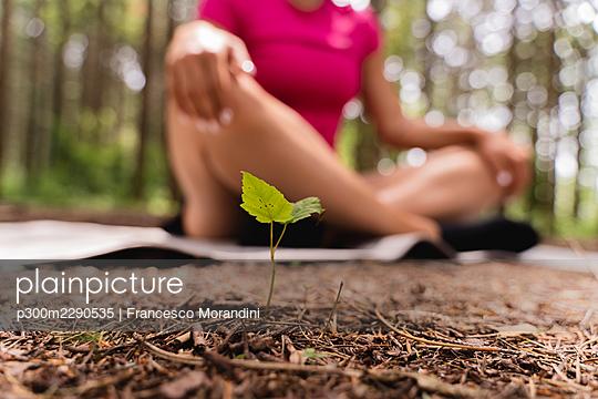 Female hiker sitting cross-legged in forest - p300m2290535 by Francesco Morandini