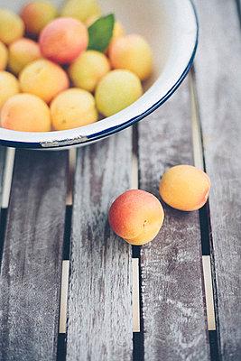 Aprikosen in einer Emailleschüssel - p946m823752 von Maren Becker