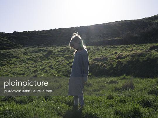 Girl on meadow - p945m2013388 by aurelia frey