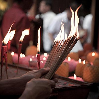 Incence burners, Sin Tze Ya Temple, China Town, Kuala Lumpur, Malaysia - p651m860855 by Jon Arnold