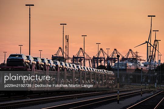 Deutschland, Hamburg, Rangierbahnhof und Hafenkräne - p229m2192739 von Martin Langer
