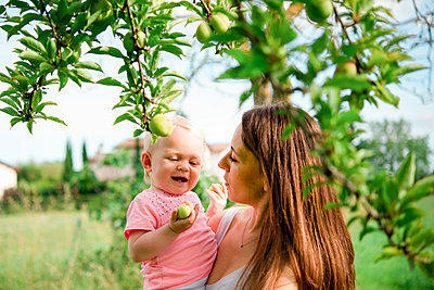 Mother carrying toddler daughter under fruit tree, head and shoulder, Arezzo, Tuscany, Italy - p429m2098376 by Senserini Lucrezia