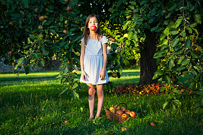 Portrait of little girl standing barefoot on a meadow with picked apple in her mouth - p300m2070323 by Larissa Veronesi