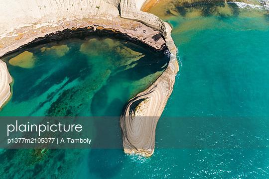 Greece, Ionian Islands, Corfu Island, Mediterranean sea, Ionian sea, Greek Islands, Peroulades, aerial of Cape Drastis on Corfu - p1377m2105377 by A Tamboly