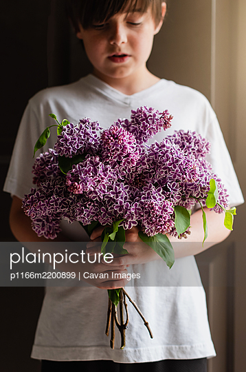 Image of a young boy holding a bouquet of purple lilac flowers. - p1166m2200899 by Cavan Images